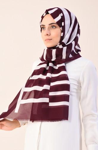 Patterned Cotton Shawl Burgundy 901542-16