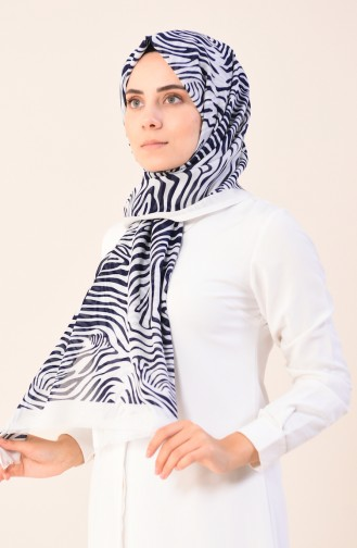 Patterned Cotton Shawl Ecru Navy Blue 901543-07