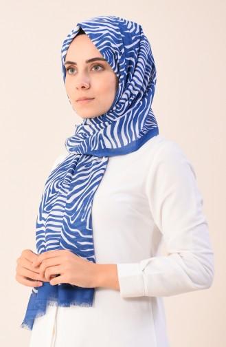شال قطني منقوش أزرق فاتح 901543-14