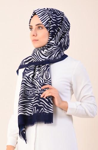 Patterned Cotton Shawl Navy Blue Ecru 901543-16