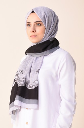 Desenli Pamuk Şal 95299-01 Siyah Gri 95299-01