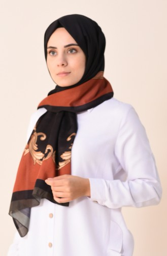 Patterned Cotton Shawl Black Brown Tobacco 95299-02