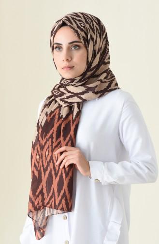 شال قطني منقوش بني 95300-01