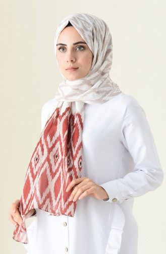 Patterned Cotton Shawl Brown Tobacco 95300-03