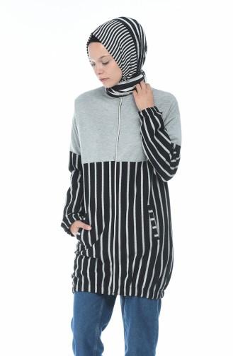 Zippered Striped Sweatshirt Gray 1586-02