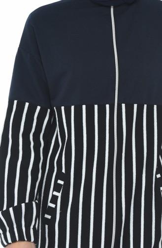 Fermuarlı Garnili Sweatshirt 1586-04 Lacivert 1586-04