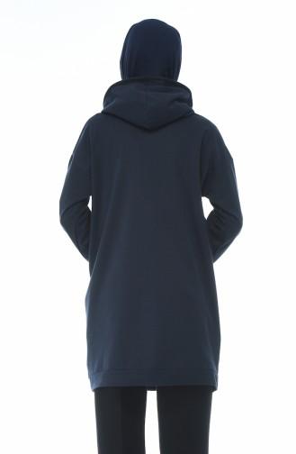 Printed Sweatshirt Navy Blue 1588-03
