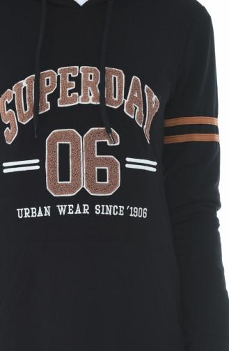 Kapüşonlu Spor Elbise 9088-05 Siyah