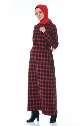 Winterliches Kleid 0325-02 Rot 0325-02