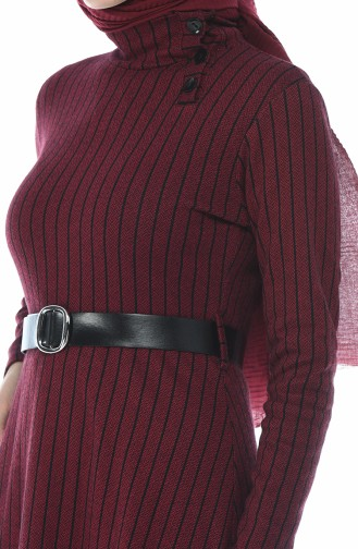 Striped Belt Dress Bordeaux 0326-03