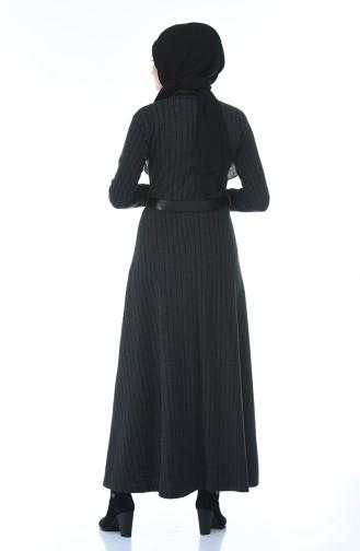 Gestreiftes Kleid mit Gürtel 0326-04 Rauchgrau 0326-04