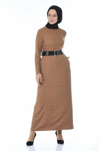 فستان مطوي بحزام خردلي 2092-03