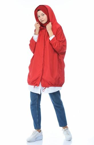 Kapüşonlu Yağmurluk 1594-01 Kırmızı 1594-01