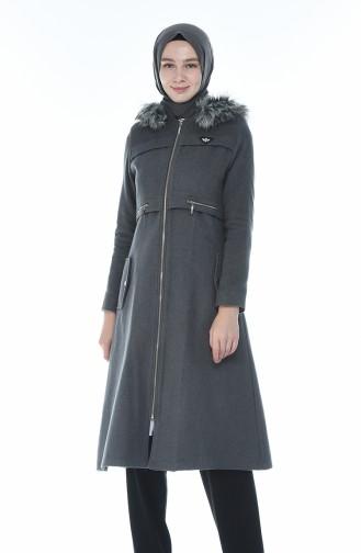 معطف رمادي مزين بالفرو 71187A-01