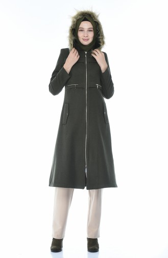 Fleece Hijab Mantel mit Pelz 71187A-04 Khaki 71187A-04