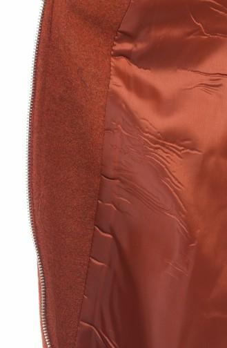 Fleece Hijab Mantel mit Pelz 71187A-05 Ziegelrot 71187A-05