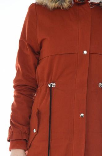 معطف بقبعة قرميدي 9015-01