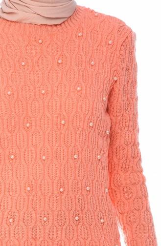 كنزة تريكو مزينة باللؤلؤ باللون المرجاني 7701-02