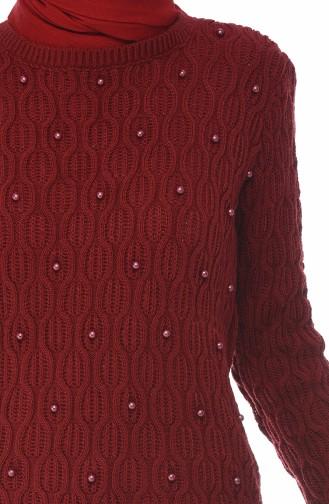 كنزة تريكو مزينة باللؤلؤ احمر كلاريت 7701-09