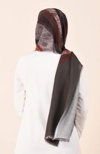 كاراجا شال قطني منقوش كاكي 90609-02