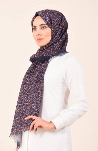 Karaca Desenli Pamuk Şal 90610-11 Lacivert 90610-11