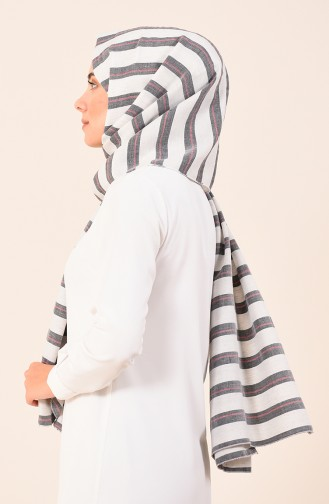 Striped Cotton Shawl Smoky 4532-01