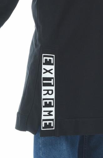 Kapüşonlu Sweatshirt 1582-01 Siyah 1582-01