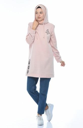 Kapüşonlu Sweatshirt 1582-04 Pudra