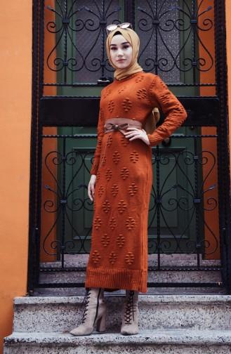 فستان تريكو قرميدي 0930-05