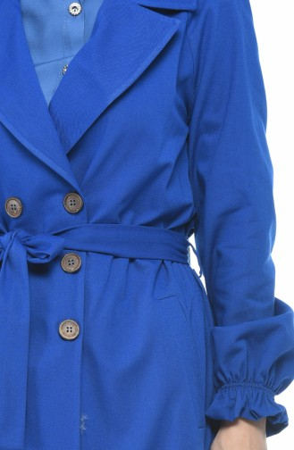 Gabardine Fabric Buttoned Trench Coat Blue 1260-08