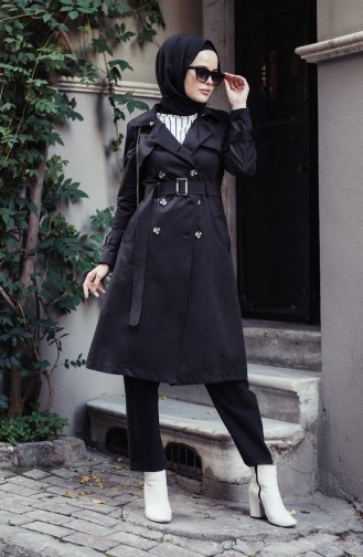 Black Trench Coats Models 6713-04