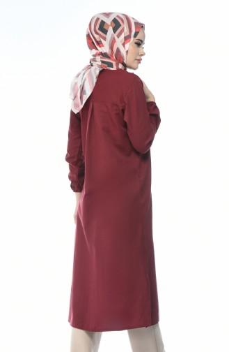 تونيك طويل أحمر كلاريت 5267-03