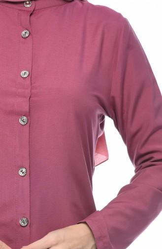 تونيك فيسكوز بأزرار بلون الورد المجفف 3158-13