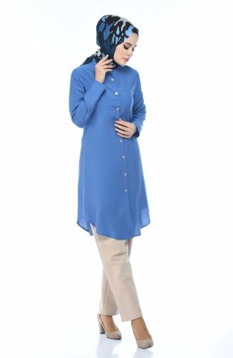 Buttoned Viscose Tunic Indigo 3158-14