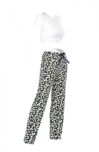 Pantalon Pyjama Pour Femme 27136 Bleu Marine Jaune 27136