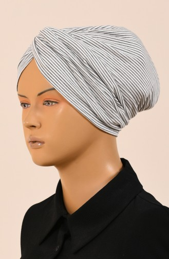 Striped Twisted Bonnet Ecru Black 1050-01