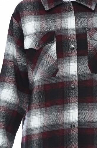 Plaid Patterned Winter Shirt Bordeaux Gray 6401-01