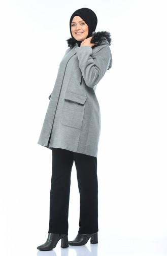 Big Size Zippered Coat Gray 9013-04