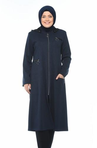 Big Size Zippered Cap Navy Blue 1010-02
