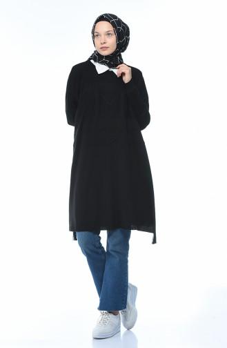 معطف تريكو تقليدي مزين أسود 8002-02