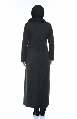 Big Size Concealed Zipper Topcoat Anthracite 1013-01