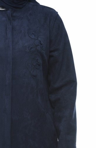 Big Size Suede Coat with Pocket Navy Blue 0386-01