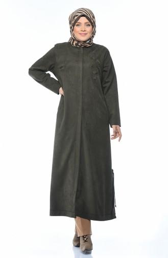 Big Size Suede Coat with Pocket Khaki 0386-03