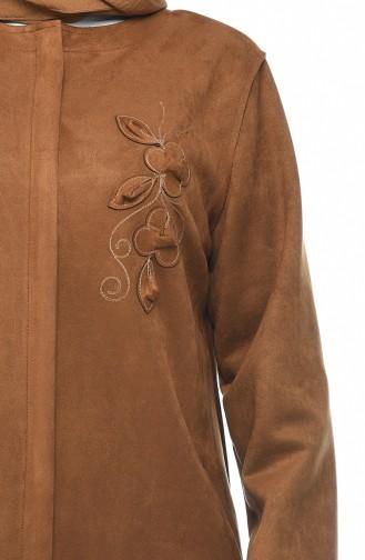 معطف شامواه بجيوب مقاس كبير خردلي 0386-05