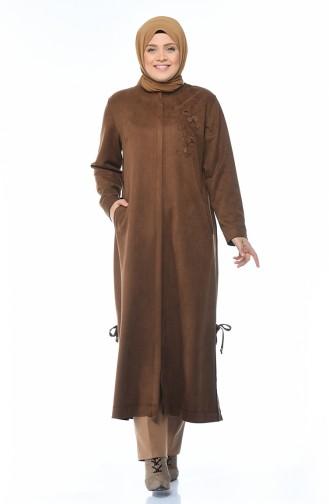 Grosse Grösse Wildleder Hijab-Mantel mit Tasche 0386-06 Tabak 0386-06