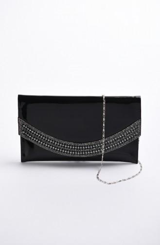 حقيبة سهرة نسائية جلد لامع أسود 0348-01
