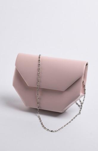 Women Leather Evening Bag Powder 0507-01