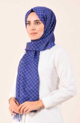 كاراجا شال قطني منقوش أزرق برلماني 90613-14