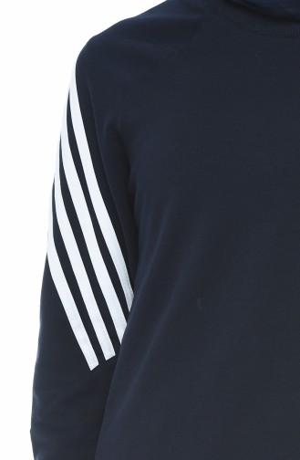 Şeritli Bluz Etek İkili Takım 9111-02 Lacivert 9111-02