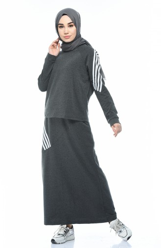 Striped Blouse Skirt Double Set Anthracite 9111-03